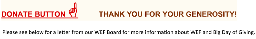 donate button with finger pointing up, thank you and see board letter below.